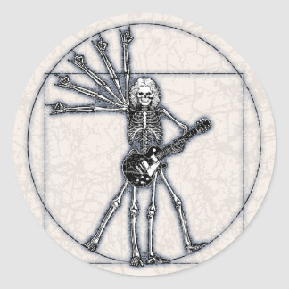 Vitruvian Skeleton Round Stickers