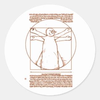 Vitruvian Snowman Classic Round Sticker