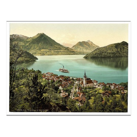Vitznau and Rigibahn, Lake Lucerne, Switzerland cl Postcard