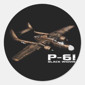 Viuda negra P-61 Pegatinas Redondas