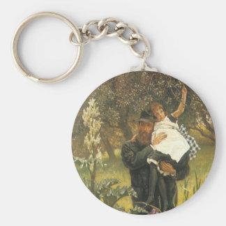 Viudo por Tissot, arte del retrato del Victorian Llavero Redondo Tipo Chapa