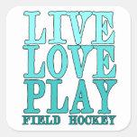 Viva, ame, juegue - al hockey hierba calcomanias cuadradas