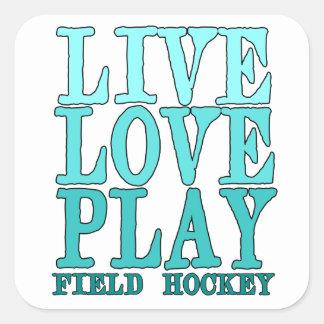 Viva ame juegue - al hockey hierba calcomanías cuadradas