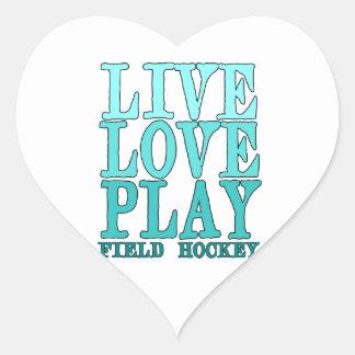 Viva, ame, juegue - al hockey hierba pegatina en forma de corazón