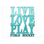 Viva, ame, juegue - al hockey hierba tarjetas postales