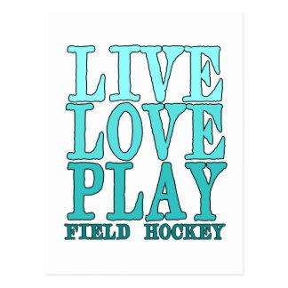 Viva, ame, juegue - al hockey hierba postales