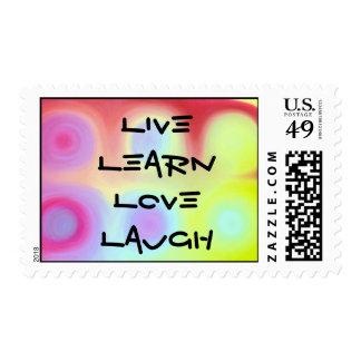 Viva, aprenda, ame, ría sellos