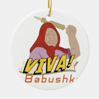 Viva Babushka Ceramic Ornament