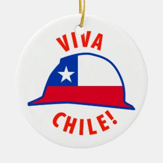 ¡Viva Chile! Adorno Navideño Redondo De Cerámica