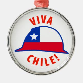 Viva Chile! Round Metal Christmas Ornament
