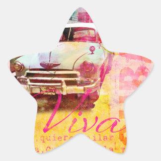 Viva Cuba Pegatinas Forma De Estrellaes