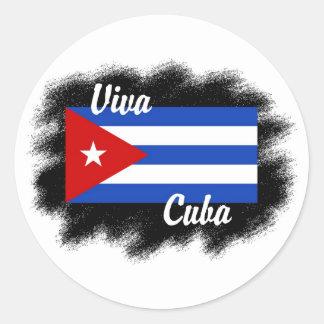 Viva Cuba Pegatina Redonda