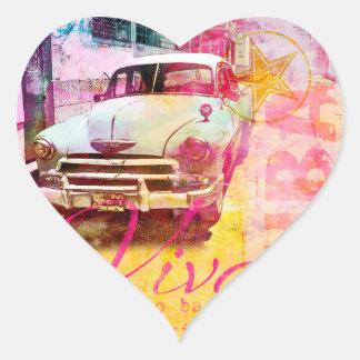 Viva Cuba Calcomanía De Corazón Personalizadas