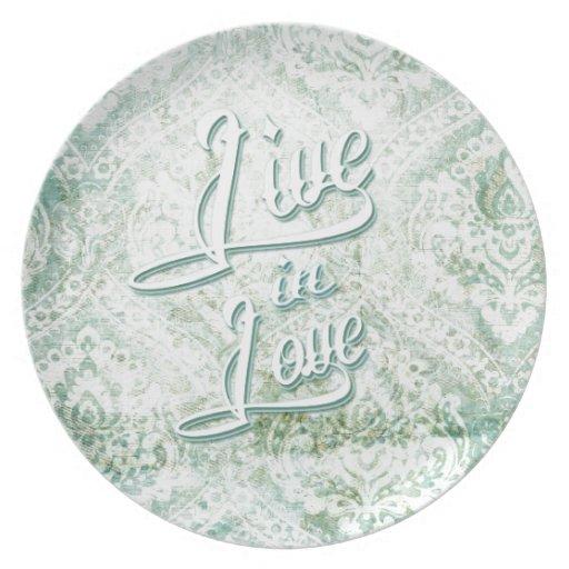 Viva en damasco del vintage del amor con la escrit platos de comidas
