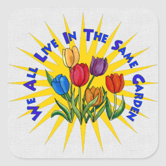 Viva en jardín de la paz calcomania cuadradas personalizada