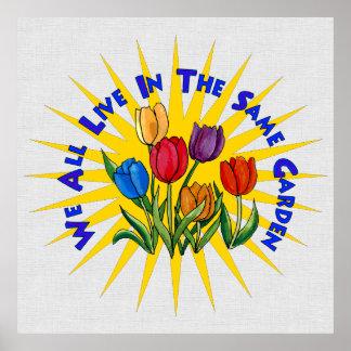 Viva en jardín de la paz póster