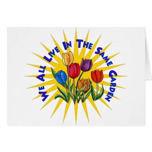 Viva en jardín de la paz tarjeta