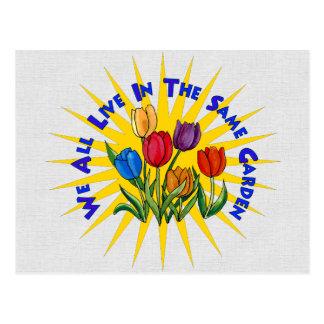 Viva en jardín de la paz tarjetas postales