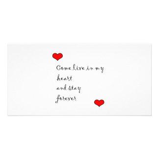 Viva en mi corazón tarjeta fotografica personalizada