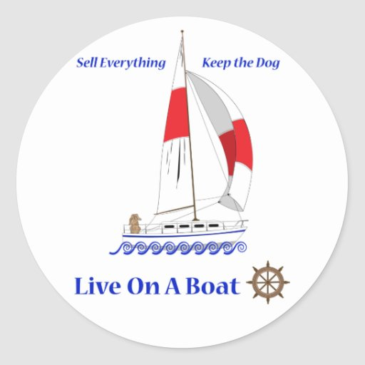 Viva en un barco pegatina redonda