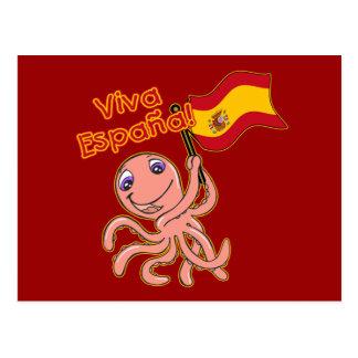 Viva Espana con la camiseta del fútbol del pulpo Tarjeta Postal