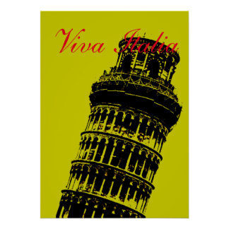 Viva Italia Leaning Tower of Pisa Italy Travel Art Poster