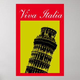 Viva Italia Leaning Tower of Pisa Travel Pop Art Poster