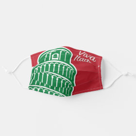 Viva Italia Tricolori Leaning Tower of Pisa Cloth Face Mask
