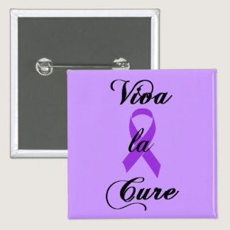 Viva la Cure - Alzheimers Disease Purple Ribbon Pinback Button