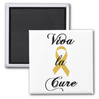 Viva la Cure - Childhood Cancer Gold Ribbon 2 Inch Square Magnet