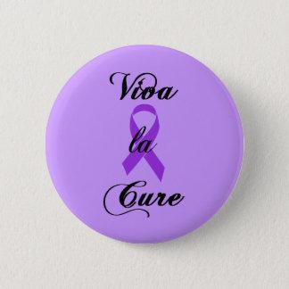 Viva la Cure - Crohns & Colitis Purple Ribbon Pinback Button