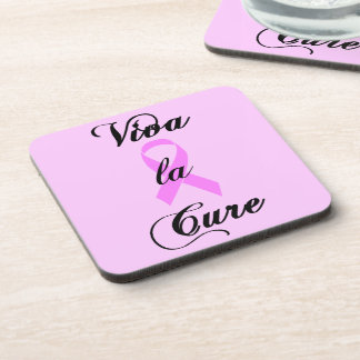 Viva la Cure for Breast Cancer - Pink Ribbon Beverage Coaster