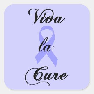 Viva la Cure - Lavender Ribbon General Cancer Square Sticker