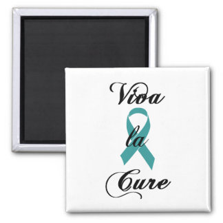 Viva la Cure - Teal Ribbon 2 Inch Square Magnet
