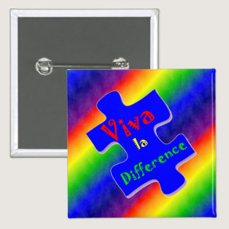 Viva la Difference Autism Puzzle Piece Button