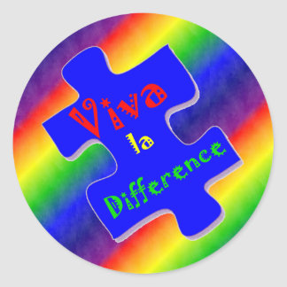 Viva la Difference Autism Puzzle Piece Classic Round Sticker