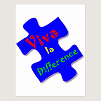 Viva la Difference Autism Puzzle Piece Postcard