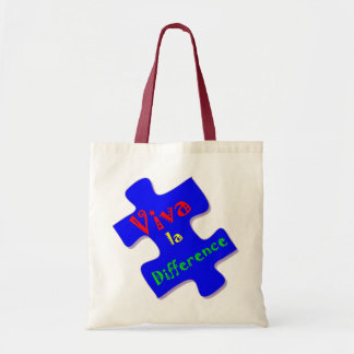 Viva la Difference Autism Puzzle Piece Tote Bag