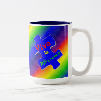 Viva la Difference Autism Puzzle Piece Two-Tone Coffee Mug