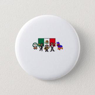 Viva la Mexico Wrestler Mariachi-Band Piñata Flag Button