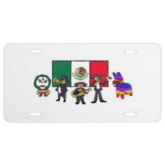 Viva la Mexico Wrestler Mariachi-Band Piñata Flag License Plate