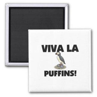 Viva La Puffins 2 Inch Square Magnet