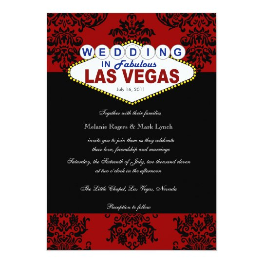 viva las vegas damask wedding invitation zazzlecom With printing wedding invitations las vegas