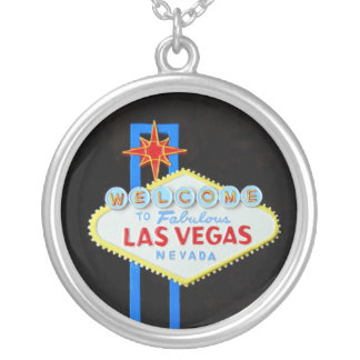 Viva Las Vegas sign Silver Plated Necklace