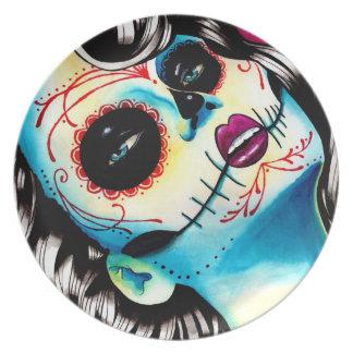 Viva Los Muertos Day of the Dead Girl Dinner Plate