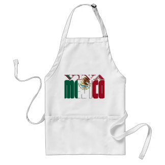 VIVA MEJICO Mexican Flag Text Adult Apron