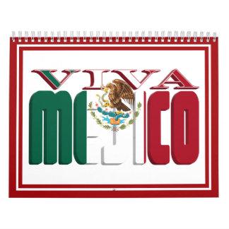 VIVA MEJICO Mexican Flag Text Calendar