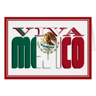 VIVA MEJICO Mexican Flag Text Greeting Card