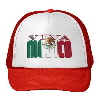 VIVA MEJICO Mexican Flag Text Hats