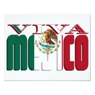 VIVA MEJICO Mexican Flag Text 4.25x5.5 Paper Invitation Card